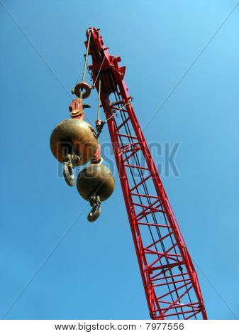Wrecking Balls With Red Crane