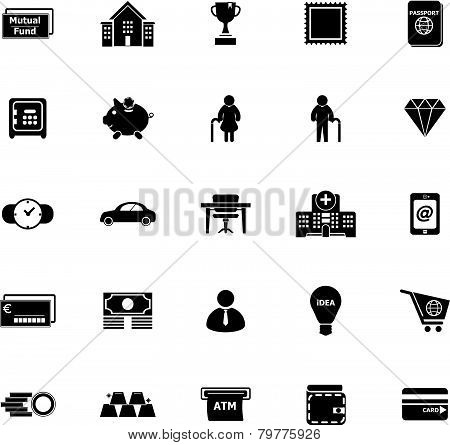 Personal Financial Icons On White Background