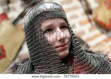 Girl In Chain Mail Helmet
