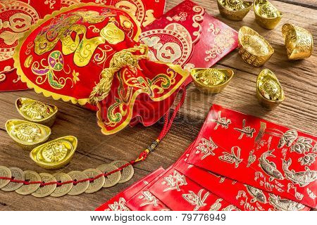 Chinese New Year Decoration,chinese Red Bag And Golden Bullion