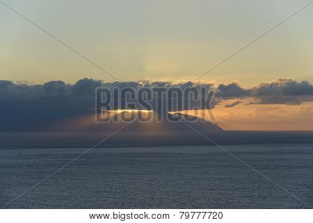 Rays Of Sunset In The Clouds Over Gran Canaria Island.