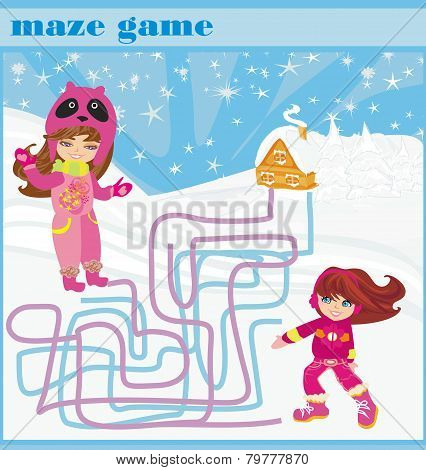 Maze Game - Fun In The Winter Day