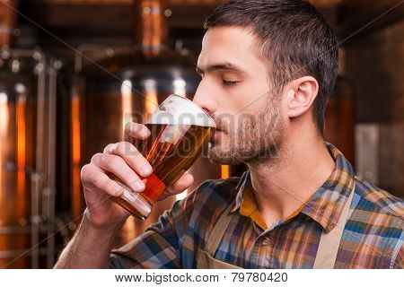 Tasting Fresh Brewed Beer.