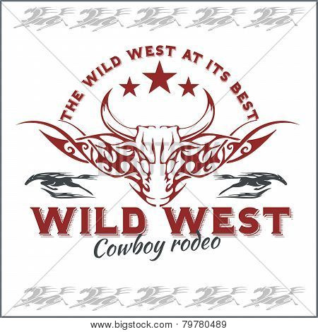 Wild west - cowboy rodeo. Vector emblem.