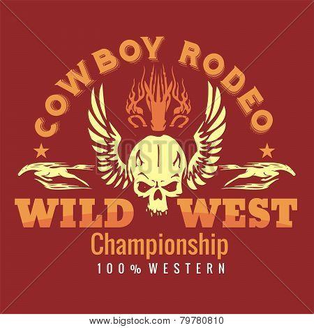 Wild west - cowboy rodeo. Vector emblem.