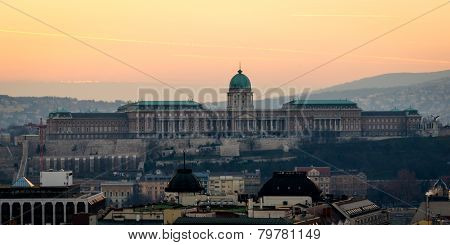 Budapest, Buda Castle At Sunset