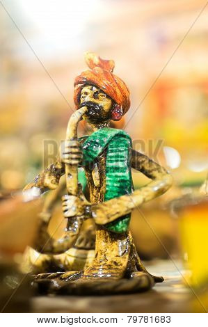 Terracotta Doll, Snake Charmer, Indian Handicrafts