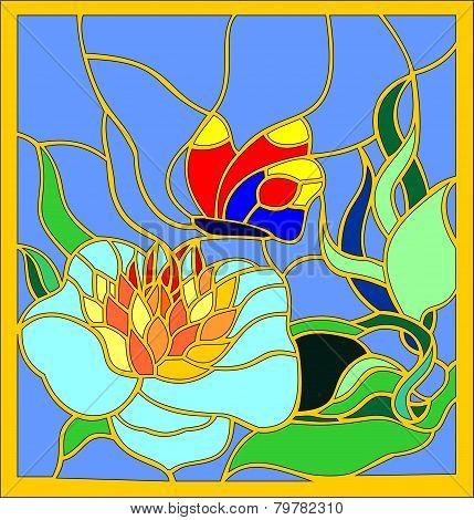 stained glass flower and butterfly
