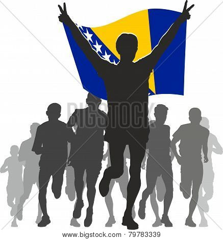 Athlete With The Bosnia And Herzegovina Flag At The Finish.eps