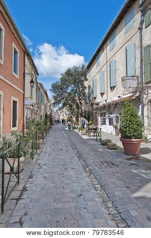 Rue De La Republique At Aigues Mortes, France