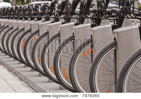 Bicyles In A Docking Station