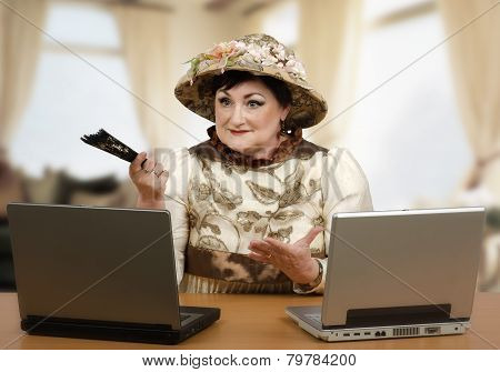 Old Woman Telling A Story To Children On Internet