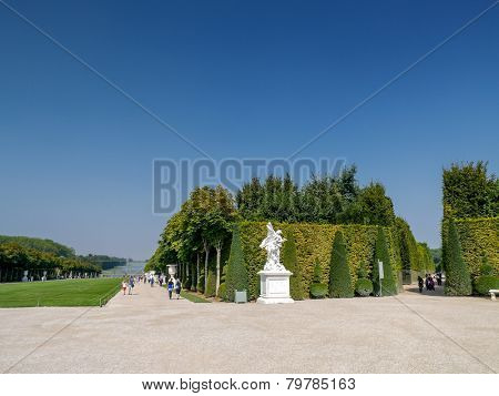 VERSAILLES, FRANCE - AUGUST 28 2013: Versailles garden in summer time, France