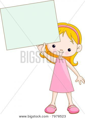Girl holding blank sign