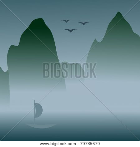 Chinese art styled landcape with foggy mountains