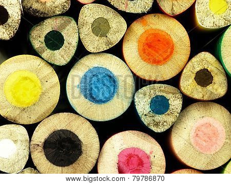 Colorful Wooden Crayons Closely.