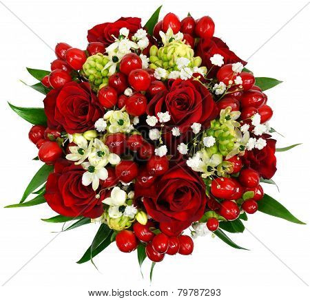 Bridal Bouquet Of Red Roses Hypericum And Ornithogalum