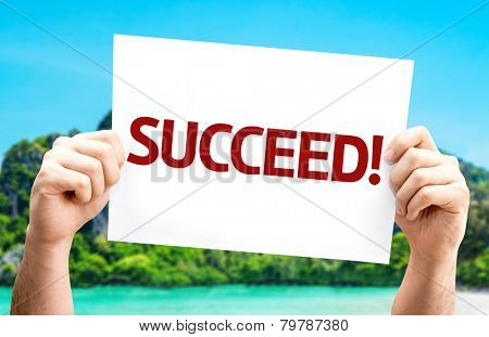 Succeed! card with a beach on background