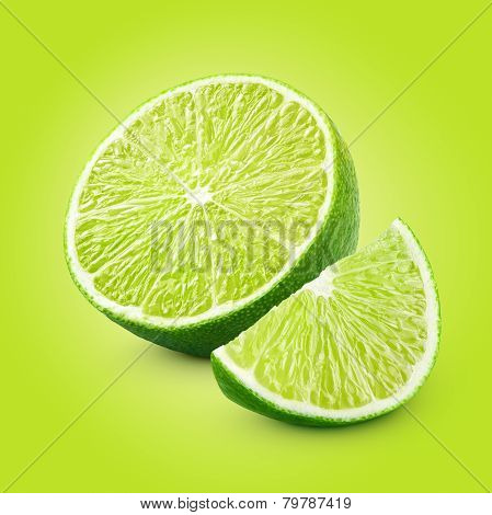 Half And Slice Of Lime Citrus Fruit