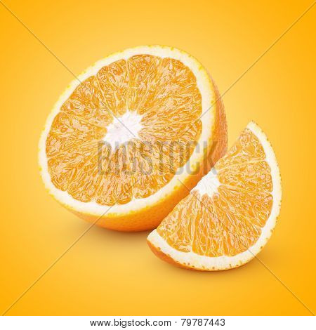 Half And Slice Orange Citrus Fruit