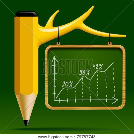 Education design with Tree pencil and Blackboard with a Growth chart on green background. Back to school concept. Vector illustration
