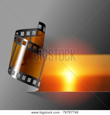 Curled photo film strip with sea sunset background. Movies and Photo album cover. Vector illustration