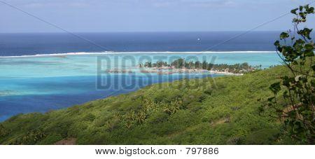 Landscape View of Water Villas in Tahiti