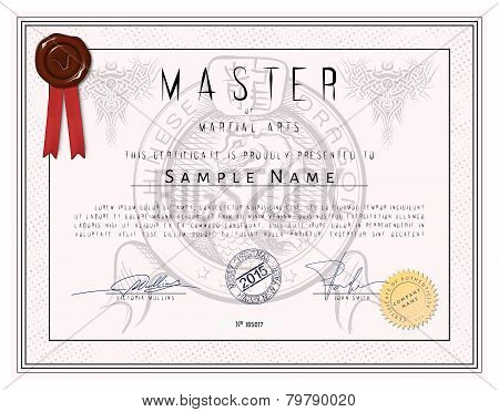 Certificate Template - Master Of Martial Arts With Chinese Dragon In Vector