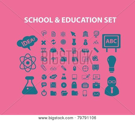 school, education icons, signs, silhouettes set, vector