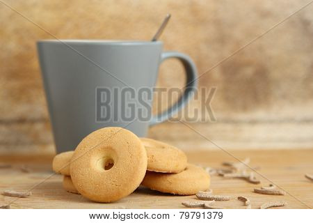 Mug Of Milk With Cookies And Bran Sticks