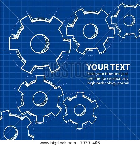 Techno blue abstract background with gears
