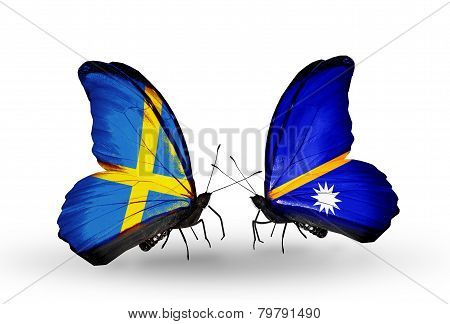 Two Butterflies With Flags On Wings As Symbol Of Relations Sweden And Nauru