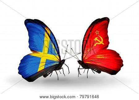 Two Butterflies With Flags On Wings As Symbol Of Relations Sweden And Soviet Union