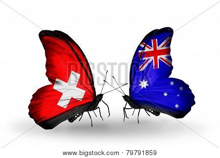 Two Butterflies With Flags On Wings As Symbol Of Relations Switzerland And Australia