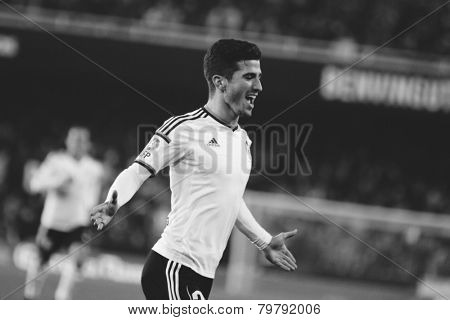VALENCIA, SPAIN - JANUARY 4: Gaya during Spanish King Cup match between Valencia CF and RCD Espanyol at Mestalla Stadium on January 4, 2015 in Valencia, Spain