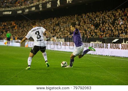 VALENCIA, SPAIN - JANUARY 4: Sergio Garcia with ball during Spanish King Cup match between Valencia CF and RCD Espanyol at Mestalla Stadium on January 4, 2015 in Valencia, Spain