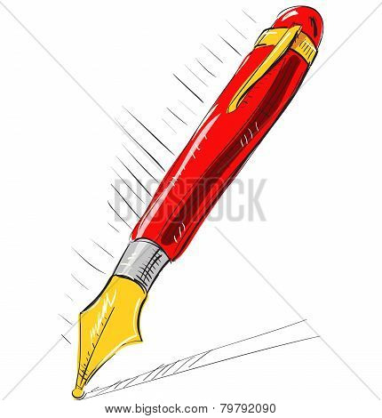 Ink pen cartoon vector illustration