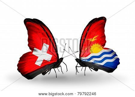 Two Butterflies With Flags On Wings As Symbol Of Relations Switzerland And  Kiribati