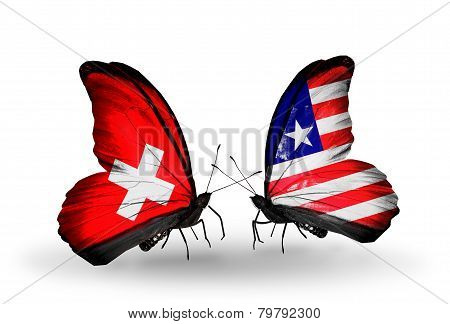 Two Butterflies With Flags On Wings As Symbol Of Relations Switzerland And Liberia