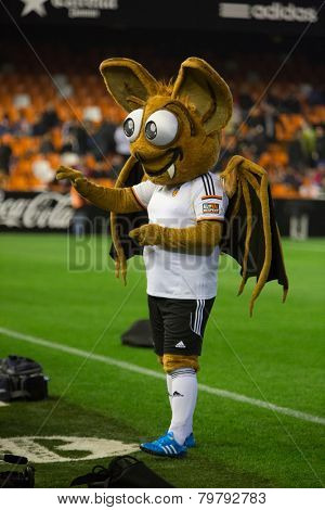 VALENCIA, SPAIN - JANUARY 4: Valencia mascot during Spanish King Cup match between Valencia CF and RCD Espanyol at Mestalla Stadium on January 4, 2015 in Valencia, Spain