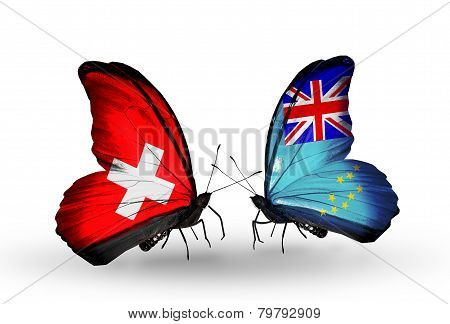 Two Butterflies With Flags On Wings As Symbol Of Relations Switzerland And Tuvalu