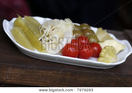 Pickled Vegetables On White Plate