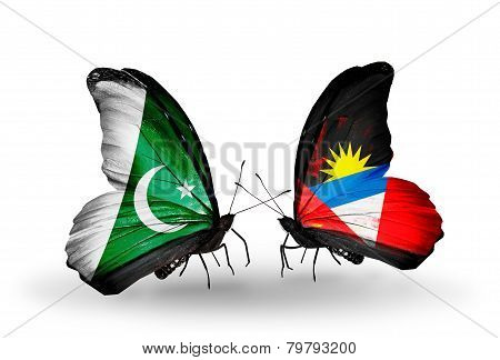 Two Butterflies With Flags On Wings As Symbol Of Relations Pakistan And Antigua And Barbuda