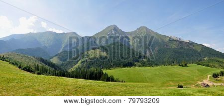 Panoramic view of the mountains Belianske Tatry, Slovakia, Europe