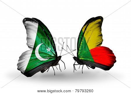 Two Butterflies With Flags On Wings As Symbol Of Relations Pakistan And  Benin