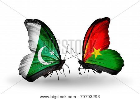 Two Butterflies With Flags On Wings As Symbol Of Relations Pakistan And Burkina Faso