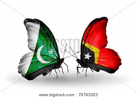 Two Butterflies With Flags On Wings As Symbol Of Relations Pakistan And East Timor