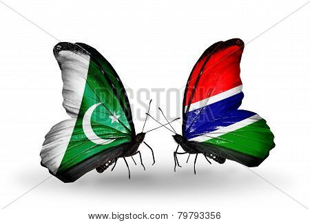 Two Butterflies With Flags On Wings As Symbol Of Relations Pakistan And Gambia