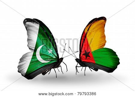 Two Butterflies With Flags On Wings As Symbol Of Relations Pakistan And Guinea Bissau
