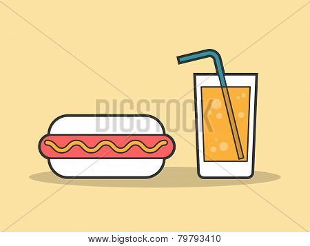 hot dog and a glass of soda